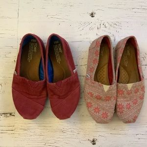 Two pair of Toms  loafers 8 1/2